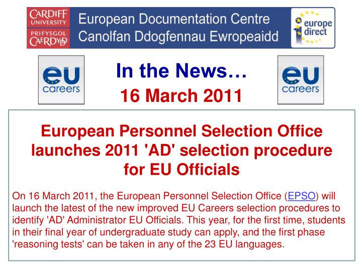 European Personnel Selection Office launches 2011 'AD' selection