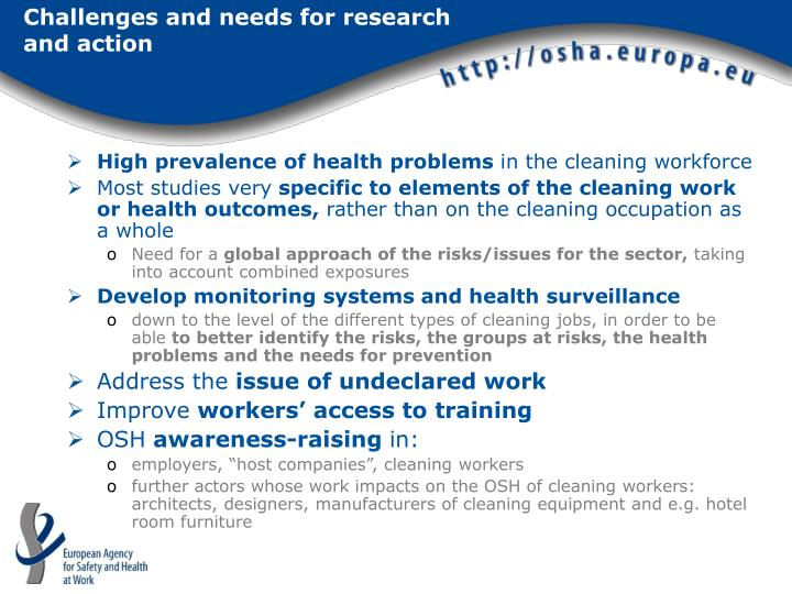 Challenges and needs for research and action
