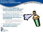 working conditions dangerous substances ds2