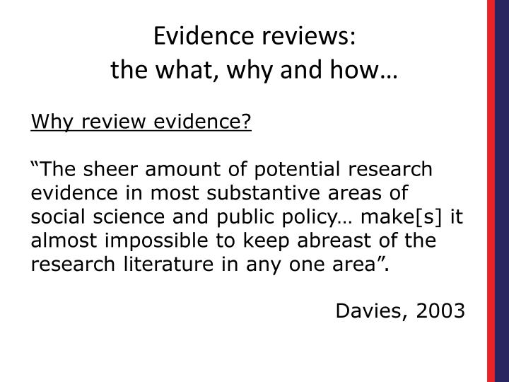 Evidence reviews the what why and how