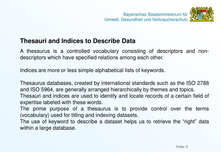 Thesauri and Indices to Describe Data