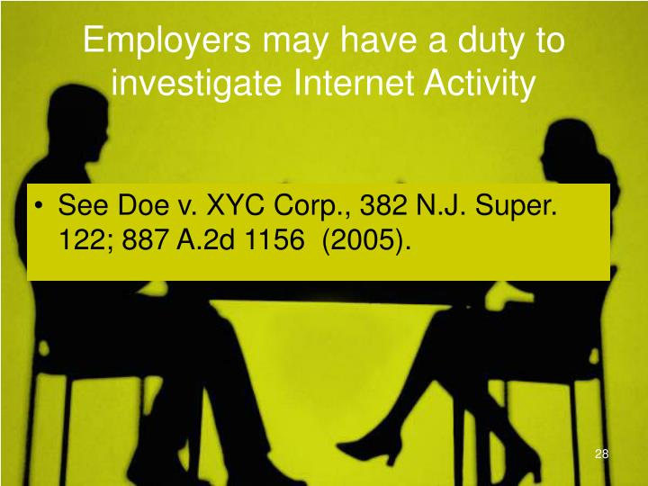 Employers may have a duty to investigate Internet Activity