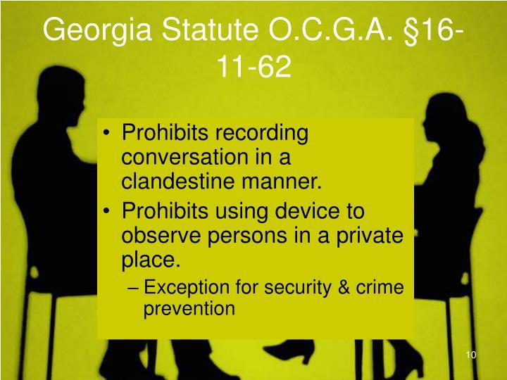 Georgia Statute O.C.G.A. §16-11-62