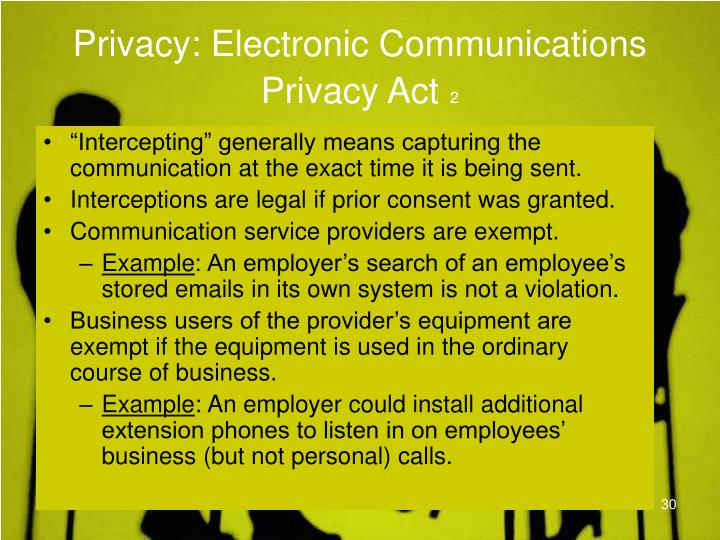 Privacy: Electronic Communications Privacy Act