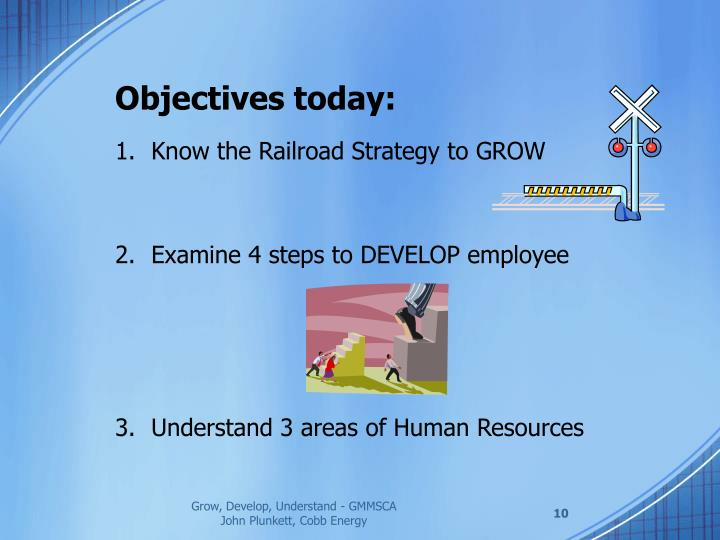 Objectives today: