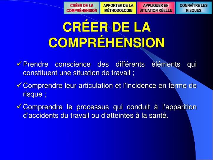 CRÉER DE LA COMPRÉHENSION