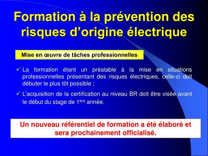 Formation à la prévention des risques d'origine électrique