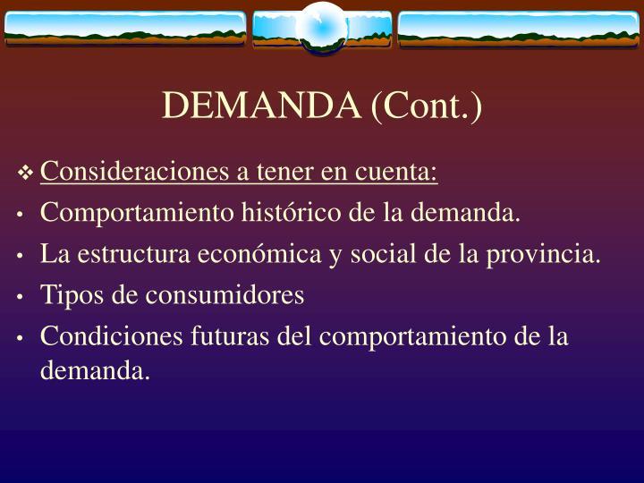 DEMANDA (Cont.)