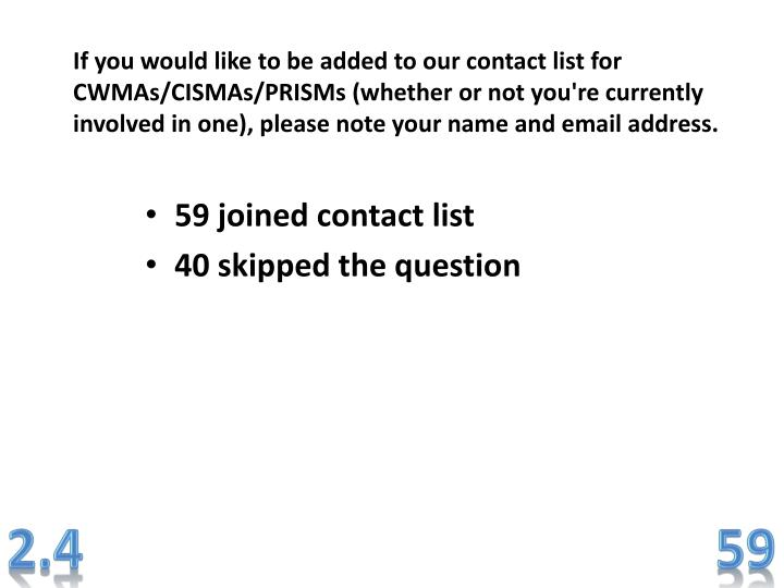 If you would like to be added to our contact list for CWMAs/CISMAs/PRISMs (whether or not you're currently involved in one), please note your name and email address.