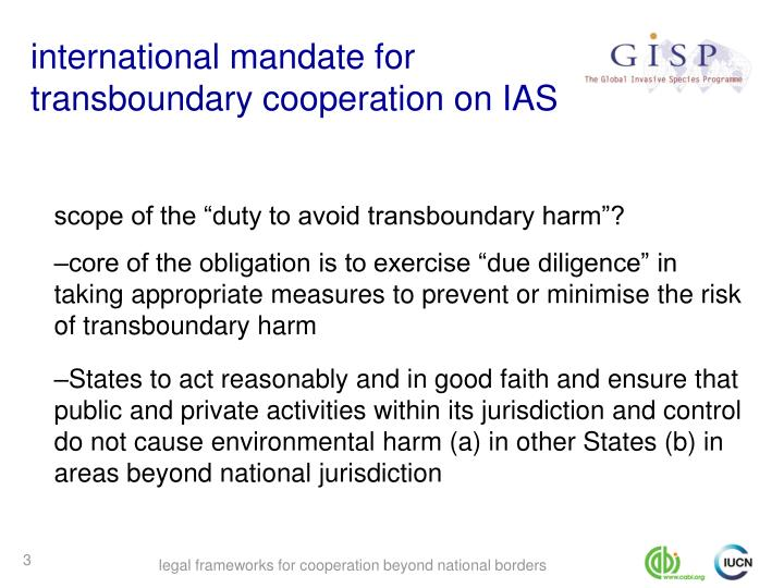 International mandate for transboundary cooperation on ias
