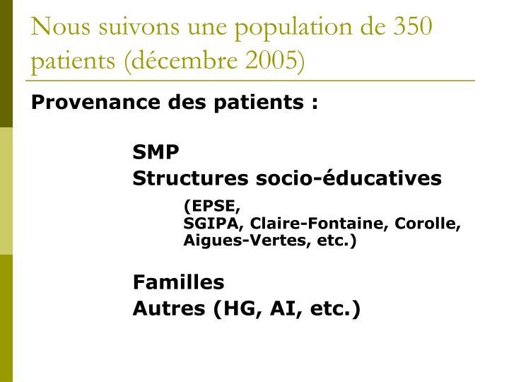 Nous suivons une population de 350 patients (décembre 2005)
