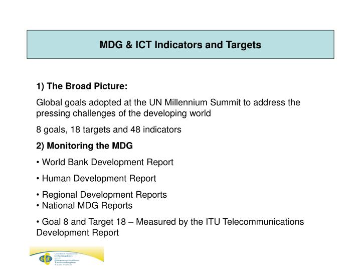 MDG & ICT Indicators and Targets