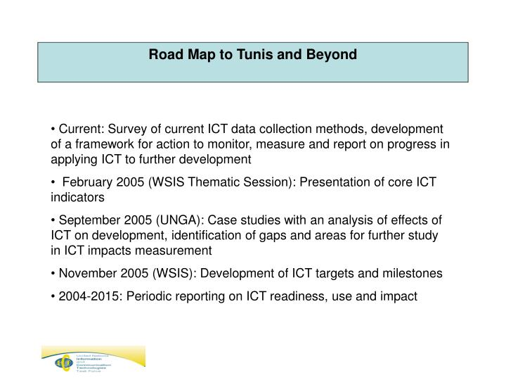 Road Map to Tunis and Beyond