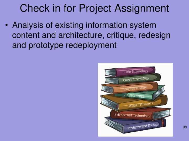 Check in for Project Assignment