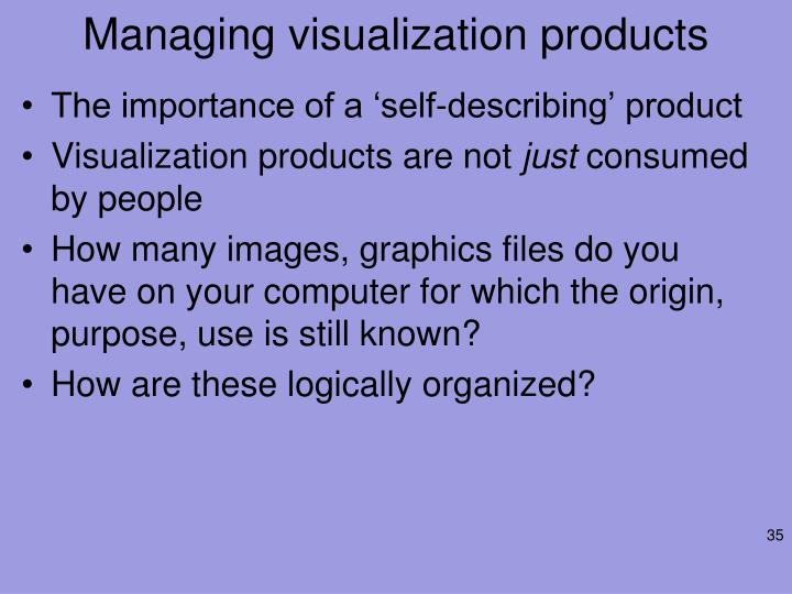 Managing visualization products