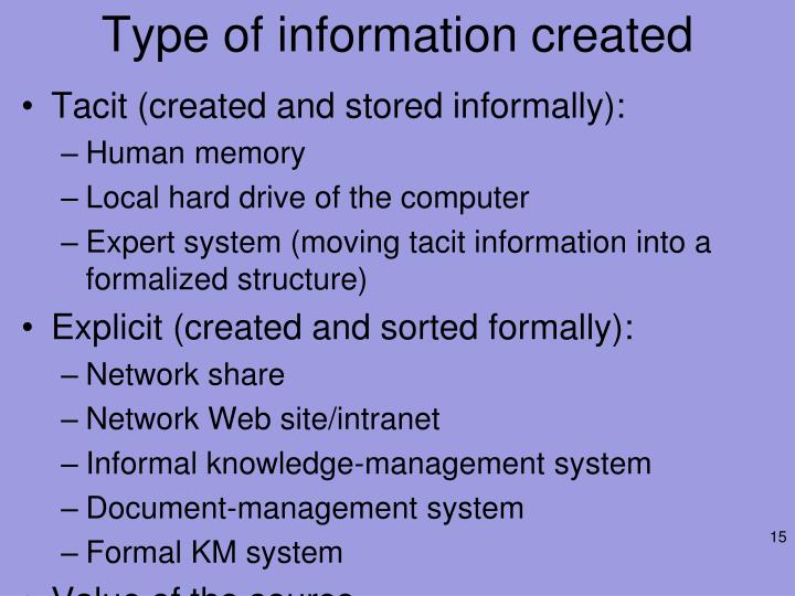 Type of information created