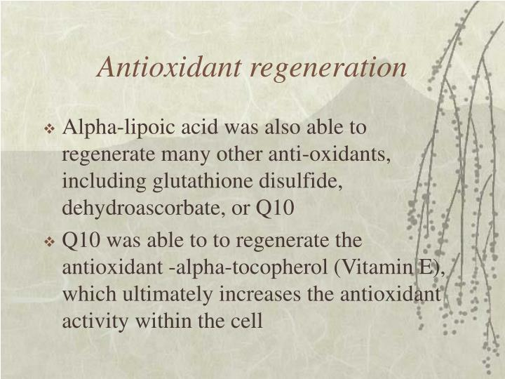 Antioxidant regeneration