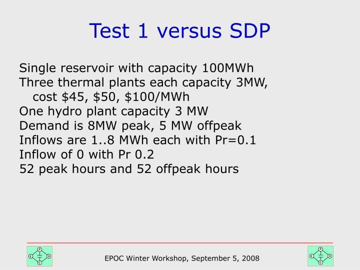 Test 1 versus SDP