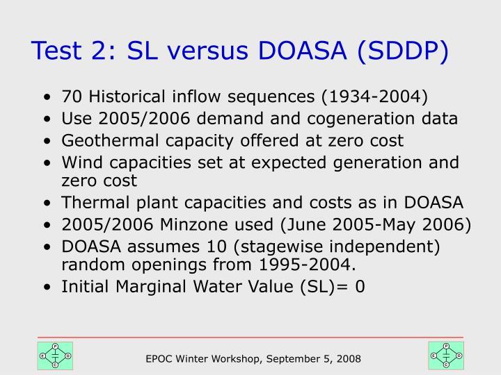 Test 2: SL versus DOASA (SDDP)