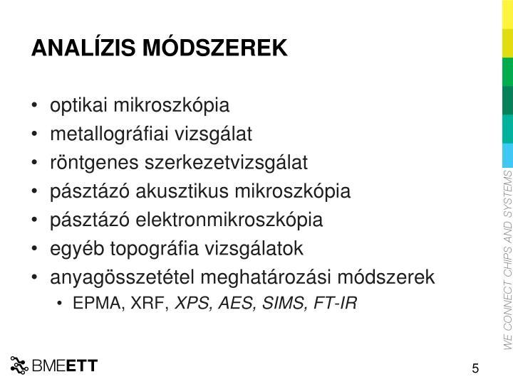 ANALÍZIS MÓDSZEREK