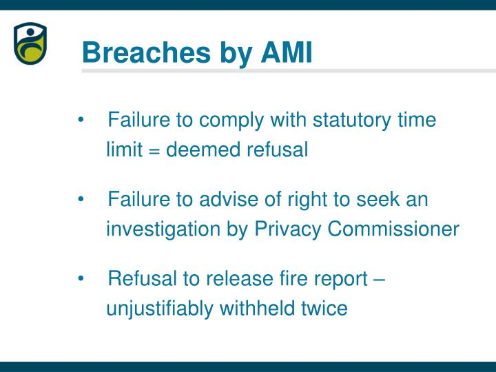 Breaches by AMI