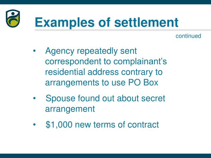 Examples of settlement