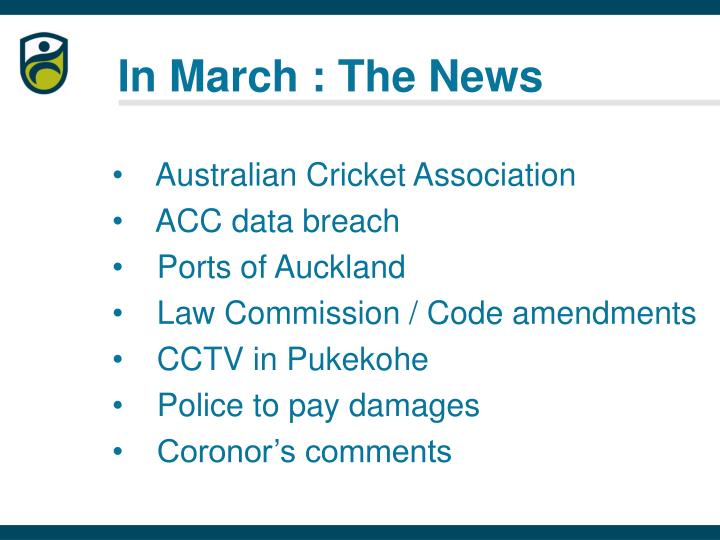 In march the news