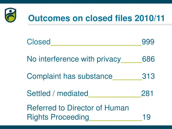 Outcomes on closed files 2010/11