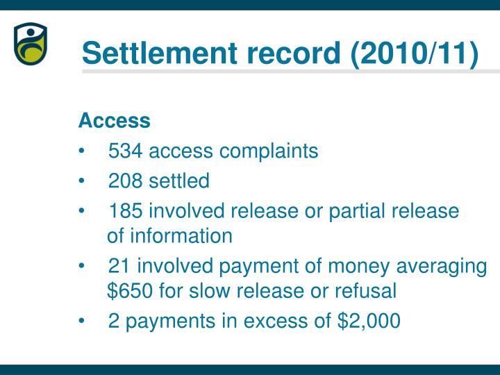 Settlement record (2010/11)