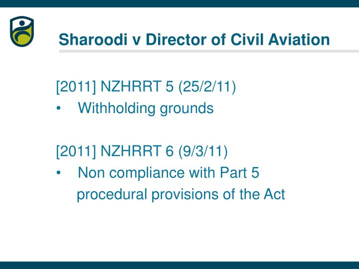 Sharoodi v Director of Civil Aviation