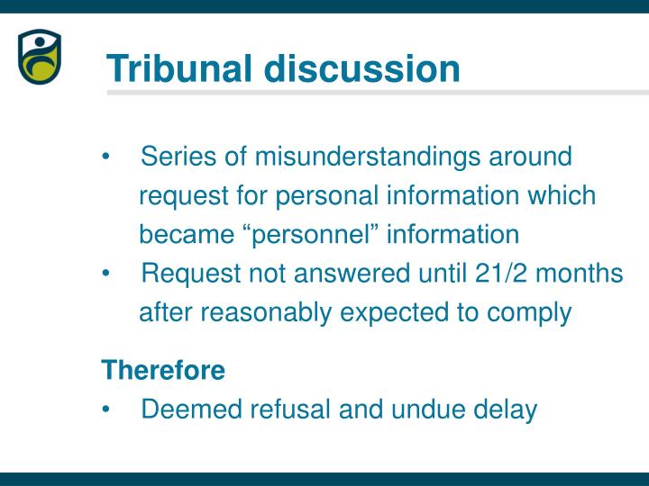 Tribunal discussion