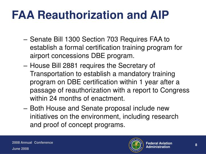 FAA Reauthorization and AIP