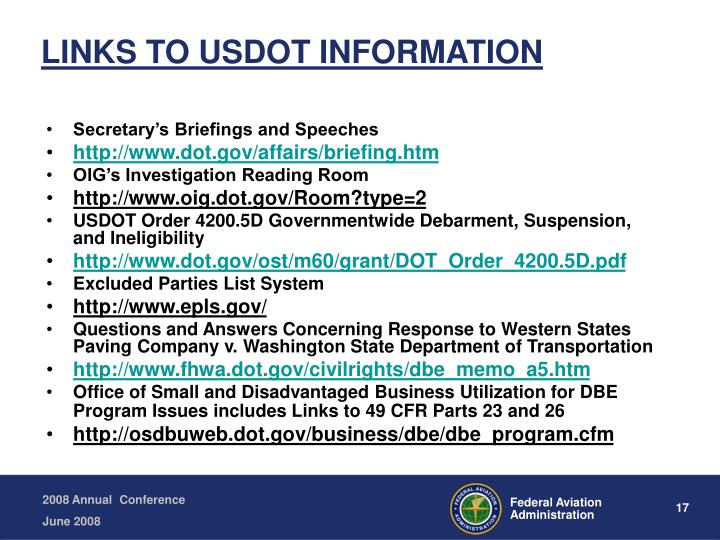 LINKS TO USDOT INFORMATION
