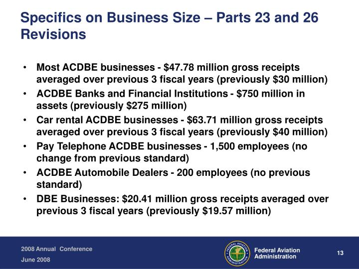 Specifics on Business Size – Parts 23 and 26 Revisions