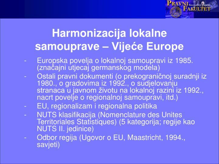 Harmonizacija lokalne samouprave – Vijeće Europe