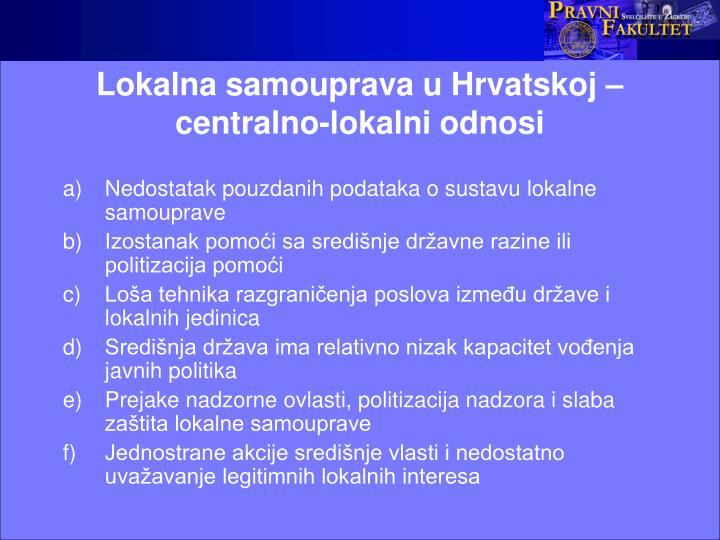 Lokalna samouprava u Hrvatskoj – centralno-lokalni odnosi