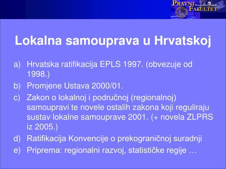 Lokalna samouprava u Hrvatskoj