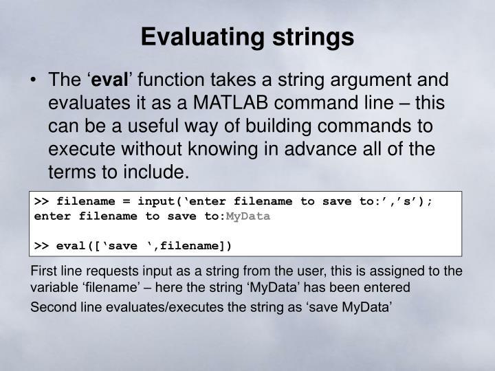 Evaluating strings