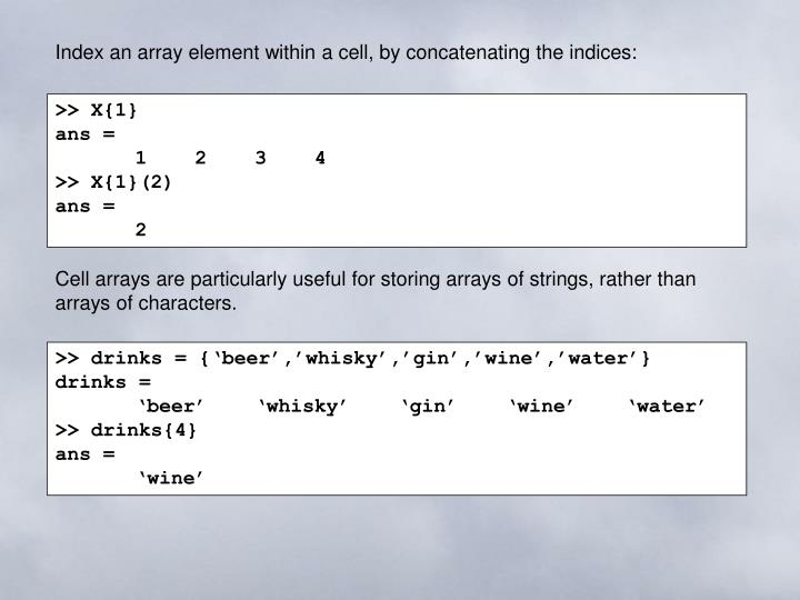 Index an array element within a cell, by concatenating the indices: