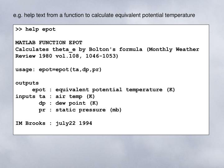 e.g. help text from a function to calculate equivalent potential temperature