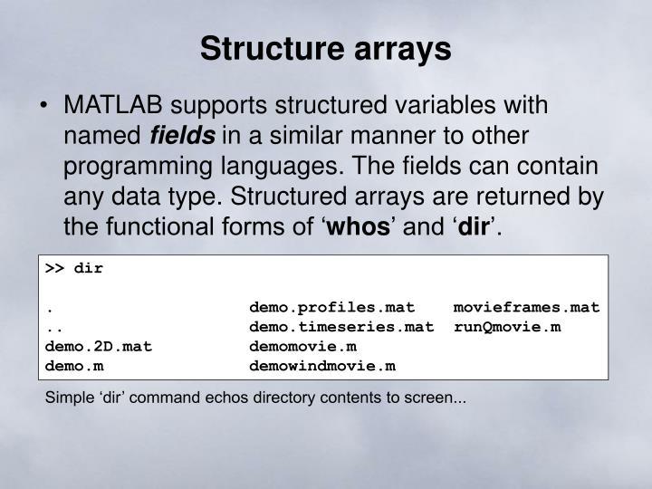 Structure arrays
