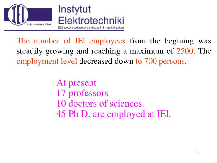 The number of IEl employees