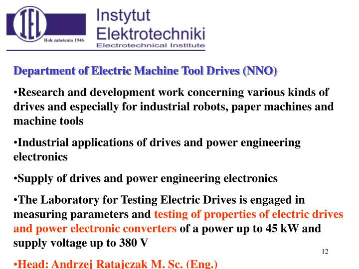 Department of Electric Machine Tool Drives (NNO)
