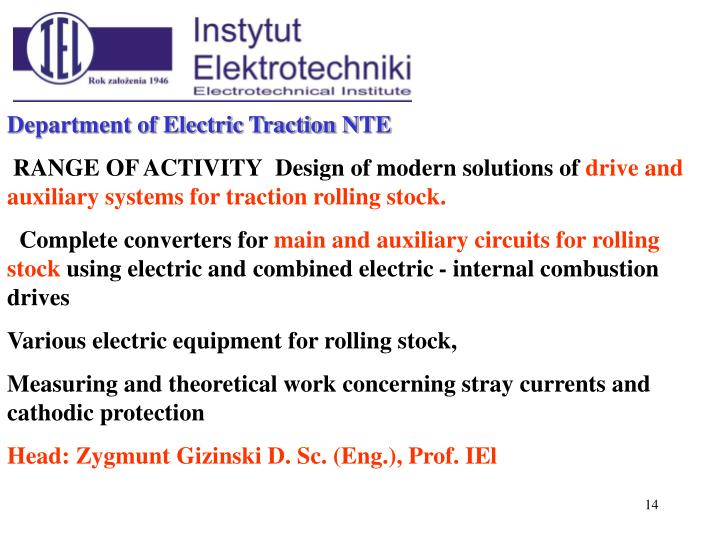 Department of Electric Traction N