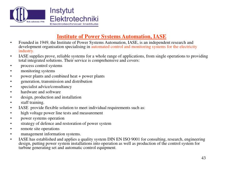 Institute of Power Systems Automation, IASE