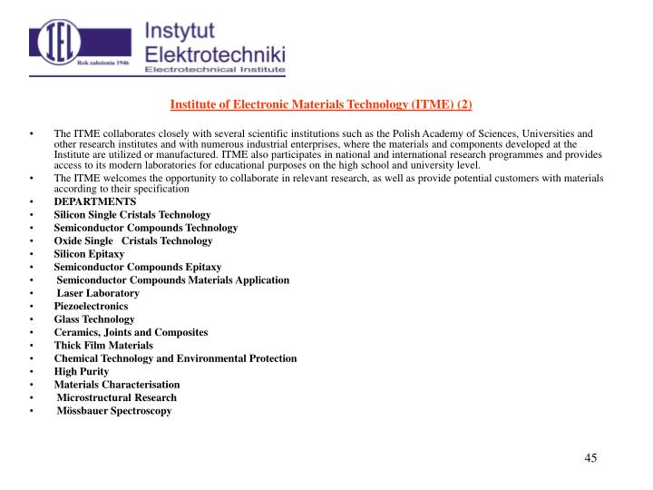 Institute of Electronic Materials Technology (ITME)