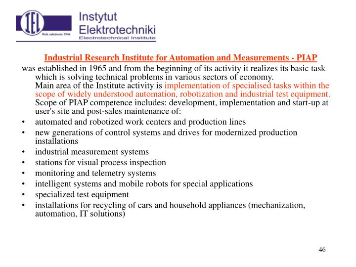 Industrial Research Institute for Automation and Measurements - PIAP