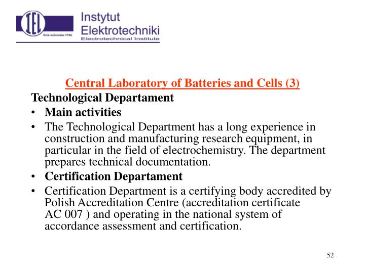 Central Laboratory of Batteries and Cells