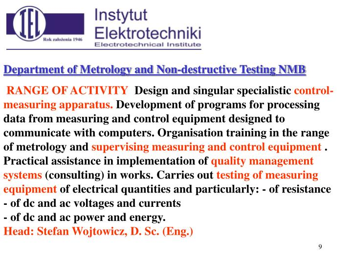 Department of Metrology and Non-destructive Testing NMB