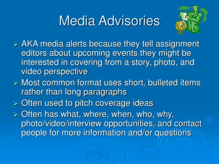 Media Advisories